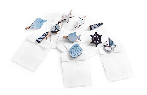 10piccoli bianchi gastgeschenktüten con marittimo Mini mollette in legno per come segnaposto per matrimoni, battesimo, compleanno, comunione; Mini sacchetti regalo Dimensioni: 5,3x