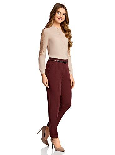 oodji Collection Damen Hose Slim Fit mit Gürtel Rot (4900N)