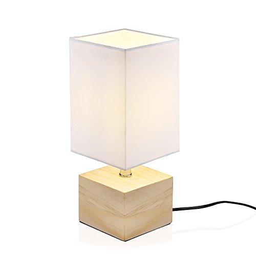 Viugreum Lampe de Chevet Decoration Moderne, [E14 Ampoule Inclus] Atmosphère Esthétique Lampe de Table Lecture Soin pour Les Yeux en Bois Nature Eclairage de Chambre Salle (BLANC)