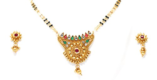 Crown Inglis Lady Classic Traditional Immitation Jewellery Gold American Diamond Plated Golden Brass Earrings Drop Earring Imitation Stone Mangalsutra Necklace Set Black Bead Chain for Women