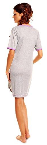 Zeta Ville - Maternité - Chemise de nuit grossesse et allaitement - femme - 366c Pourpre