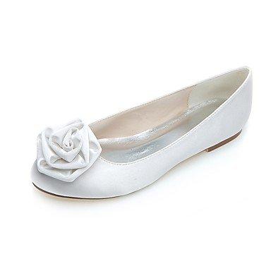 RTRY Donna Scarpe Matrimonio Ballerina Satin Primavera Estate Party Di Nozze &Amp; Abito Da Sera Fiore In Raso Tacco Piatto Viola Nero Piatto Bianco US5 / EU35 / UK3 / CN34