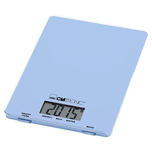 Clatronic KW 3626 Küchenwaage bis 5 kg, extra flach, Glas-Wiegefläche, Tara-Funktion, LCD-Display, blau, Kunststoff