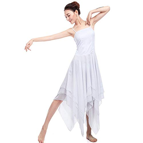 Lyrical Dance Kostüm Ballett - YOUYE Ballett-Trikots für Frauen Ballett-Kleid Lyrical Contemporary Dance Dress Adult Spaghetti Strap ärmelloses asymmetrisches Tanzkleid,White,S