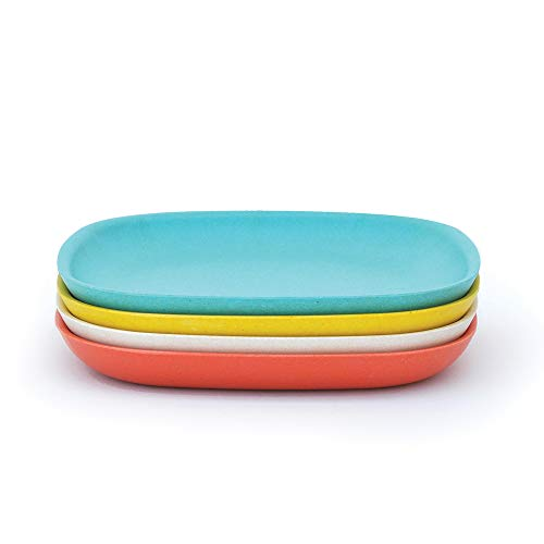 BIOBU by EKOBO - 34772-Jouet Gusto Petit Set 2 Assiettes Plates 23 x 23 x 2,5 cm Persimmon/Blanc/Bleu Lagon/Jaune Citron