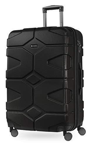 HAUPTSTADTKOFFER - X-Kölln - Valigia da viaggio espandibile rigida e legera,  grande 76 cm, Trolley ABS, TSA, 107-120 litri, Nero