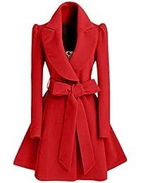Pureed Mujer Elegantes Parkas Sólidos Abrigo Joven Colores Gabardina Primavera Otoño Moda Lana con Cinturón Solapa Jacket con Lazo…