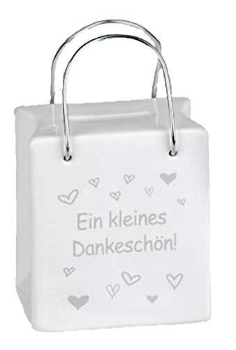64aa4846dc346 dekojohnson Trendige Sparbüchse Sparschwein Spardose Tasche mit Spruch und  Henkel 8x9 cm Inkl Geschenkkarte