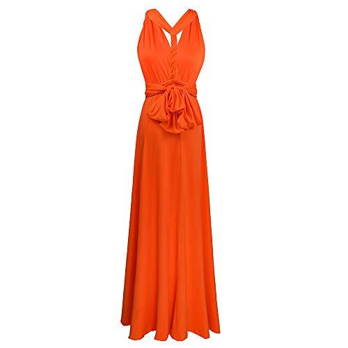Xersex Abito Senza Schienale Vestiti da Cerimonia Abito da Sera Partito Festa Banchetto (Arancio, s)