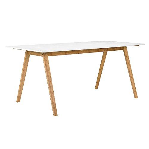 [en.casa]®] Mesa Comedor bambú Tablero Lacado Blanco