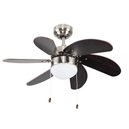 MiniSun - Ventilatore da soffitto moderno con 6 pale 'Michigan' - cromato e l'effetto di legno - con una luce flush