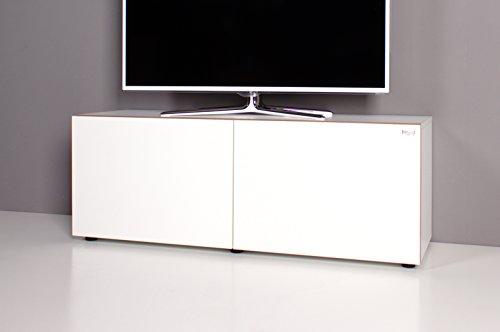 ➥ Lowboard / TV-Bank NOOMO weiß / weiß Hochglanz ➟ - Wohnwände zum ...