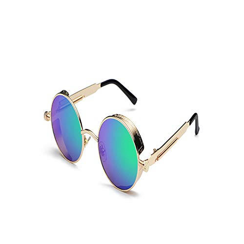 Sportbrillen, Angeln Golfbrille,NEW Men Women Round Gothic Steam Punk Goggle Metal Vintage HD Vision SunglassPolarisiert Steampunk Sunglasses Gold-Green