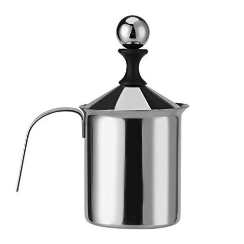 Ishua Montalatte in acciaio inox portatile, montalatte manuale, doppio miscelatore in schiuma di metallo o caffè, latte, caffè caldo cappuccino-800ML