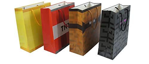 Pixel Mine Crafting Style Geschenktüten, 4 Stück, lustige Geschenktüten mit Pixel Chest, Pixel Gold Block, Pixel TNT und Pixel Endermonster. Ideal als Geburtstags- oder Weihnachtsgeschenk.