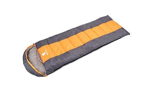 GEERTOP® Erwachsene Schlafsack Warm Leichter, 220x75 cm, 0 to 12 ℃, Kragen und Kapuze mit Kordelzug mit kleinstem Packmaß, Für Outdoor Camping Wandern (Orange, Medium)  (Kleinste Leichter)