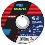 Norton Neon Extra fin 115mm x 1mm x 22mm Disques à tronçonner pour Meuleuses d'angle. Lot de 10disques.