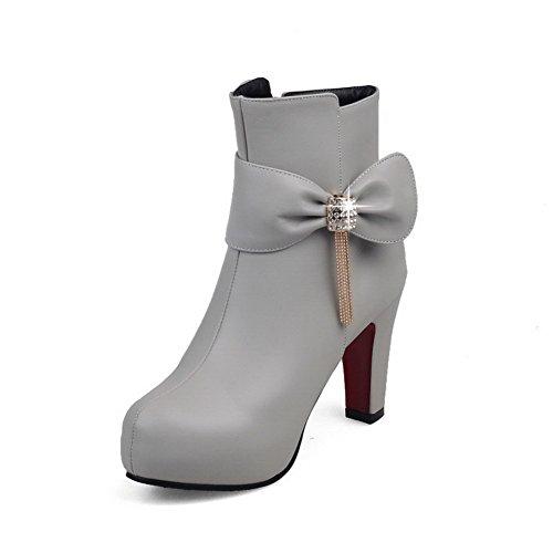 VogueZone009 Damen Niedrig-Spitze Reißverschluss Hoher Absatz Stiefel mit Beschlagene Strass Grau