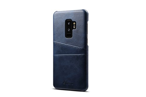 s Leder Fall, Super Slim Fit Weich PU Schutz Zwei Kreditkarte Slots Ultra Dünn Handy Back Cover für Samsung Galaxy S9Plus 2018, blau ()