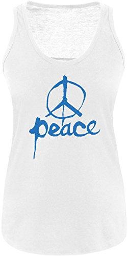 EZYshirt Peace Damen Tanktop Weiss/Blau