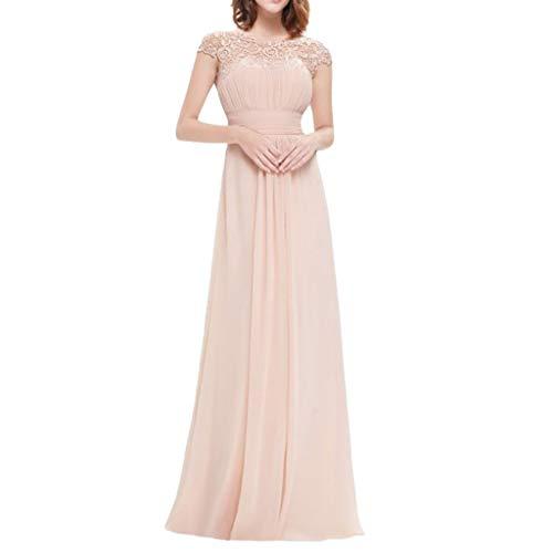 Damen Abendkleider Lang Elegant für Hochzeit Maxikleider Floral Formal Spitze Vintage Kurzarm Slim...