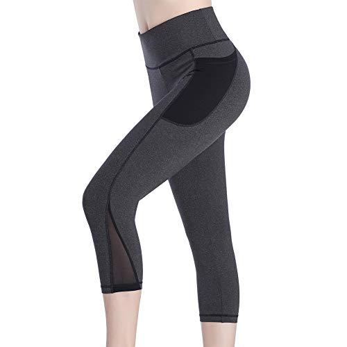 Picotee Sport Leggings Damen Yogahose Leggins Hoher Bund Sporthose Blickdicht Leggings Tasche Fitnesshose (3/4 Sporthosen-dunkelgrau, Large)