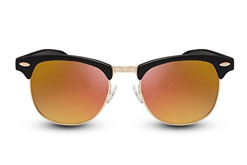 Cheapass Sonnenbrille Schwarz Gold Verspiegelte Gläser UV400 Festival Must-Have Damen Herren