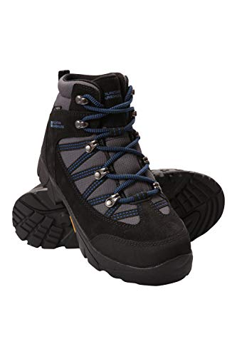 Mountain Warehouse Edinburgh Vibram Youth Wasserfeste Kinder Stiefel - Atmungsaktive, leichte Wanderstiefel, Netzfutter, strapazierfähige Regenstiefel. Wanderschuhe Kobalt 35 EU (Teen Jungen Stiefel)