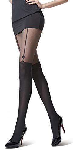 Kaiser-Handel.de 2x Sexy Damen Strumpfhose in Overknee-Look mit Schleife 80 DEN