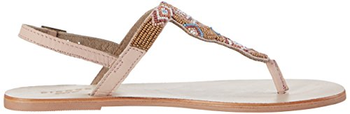 PIECES Damen Carmen Beads Multi Leather Sandal Nude Knöchelriemchen Mehrfarbig (Nude)