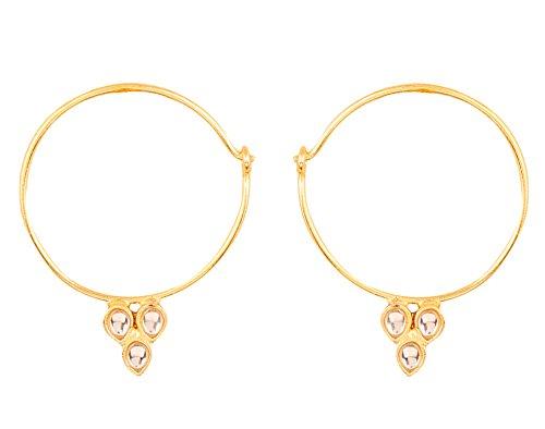 Prüfstein indischen Bollywood Traditioneller und moderner dünn Draht Creolen Bali Designer Kundan Polki Schmuck Ohrringe für Damen in gold Ton. (Moderner-stil-ball)