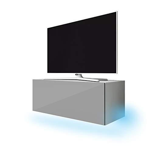 Lana - Meuble TV suspendu / Table Basse TV / Banc TV de Salon (100 cm, Blanc Mat / Gris Brillant avec LED bleue)