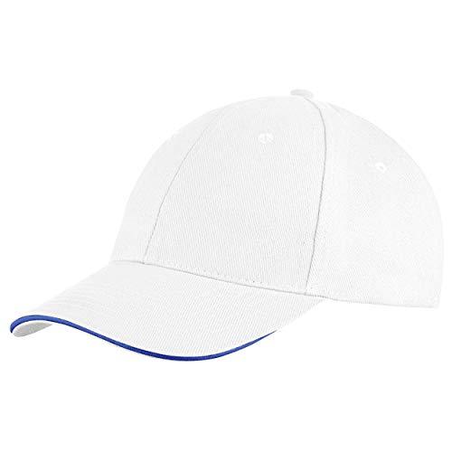 famvis Style Klassische Baseball Cap für Damen und Herren aus reiner Baumwolle, verstellbar, Basecap Kappe Mütze Hut weiß