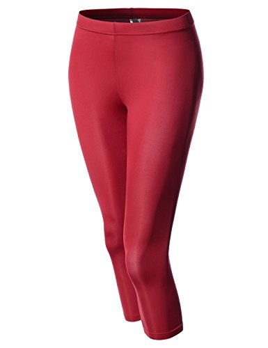 nearkin-nknkw7l-womens-capri-crop-downy-yoga-tights-elastic-leggings-red-uk-14tag-size-l