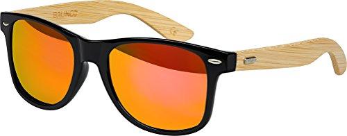 Hochwertige Bambus Holz Nerd Sonnenbrille Rubber im Wayfarer Stil Retro Vintage Unisex Brille mit Federscharnier - 9 verschiedene Farben/Modelle wählbar (Bambus - Rot/Orange verspiegelt)