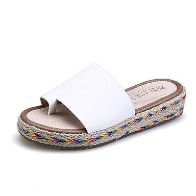 Donne'sscarpe piattaforma in microfibra pantofole / punta tonda / punta aperta sandali abito nero / marrone / verde / bianco US8.5 / EU39 / UK6.5 / CN40