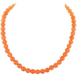Kastiya Jewels Orange Peach Colored Quartz Semi Precious Gemstone Beads Mala Necklace For Women