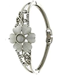 Anuradha Art Silver Finish Studded Sparkling Stone Stylish Party Wear Hand Bracelet/Kada For Women/Girls