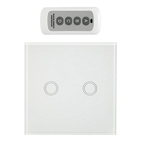 Homyl 433Mhz Touch Switch Panel Funk-Schalter Taster mit Fernbedienung - Weiß, 2 Gang