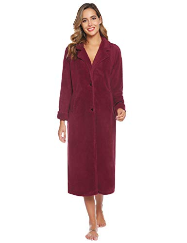 Aibrou Pyjama Femme Polaire Robe Chambre Chapeau Longue Hiver Sortie de Bain Peignoir Pas Cher personnalisé Vin Rouge A- Vin Rouge EU(36-38)-S