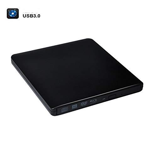 Externes Blu-ray-Laufwerk, USB 3.0-Brenner für externen Blu-ray-Player, tragbares BD- / CD- / DVD-Brennerlaufwerk mit poliertem Metallchrom für Mac, Windows 10, Laptop, PC (Color : Black)