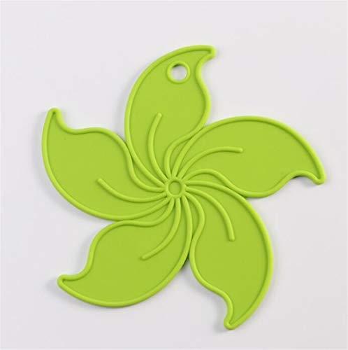 Redyiger Wohnaccessoires Bauhinia Hhome Kreative Geschirr Silikon Isolierung Coasters_Green 17x17cm Green Coaster