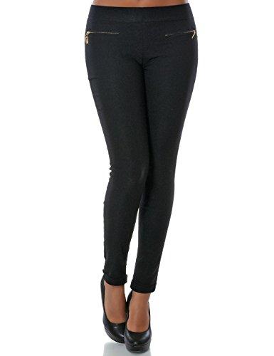Damen Hose Treggings Skinny (Röhre weitere Farben) No 13997, Farbe:Schwarz;Größe:42 / XL