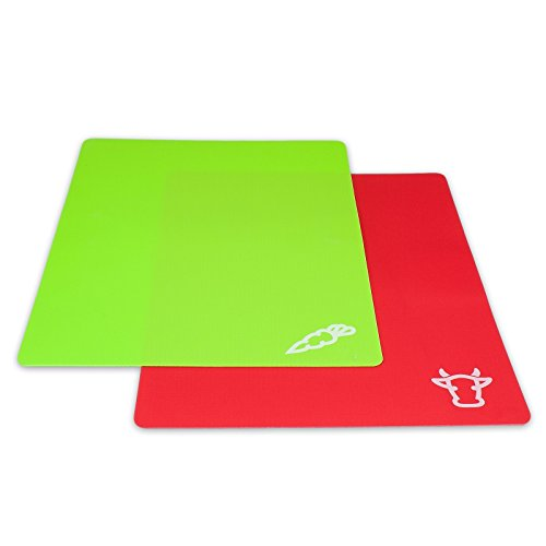 cleenbo Kunststoff Schneidmatten für die Küche, flexible Schneideunterlage im 2er Set für...