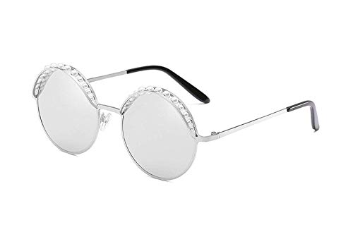 OULN1Y Sport Sonnenbrillen,Vintage Sonnenbrillen,Round Sunglasses Women Pink Gold Fashion With Pearl Sun Glasses For Women Metal