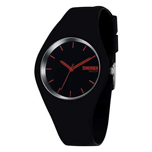 FeiWen Damen und Mädchen Fashion Casual Analog Quartz Uhren 12 Farben Kautschuk Wählscheiben mit Band Minimalismus Dress Armbanduhren (Schwarz Rot)
