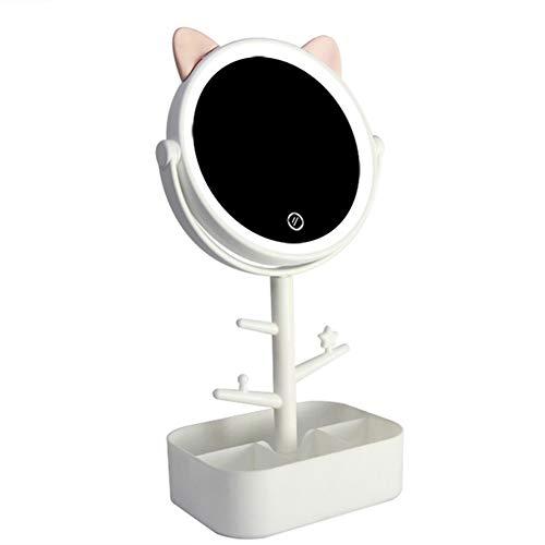 Espejo maquillaje forma orejas gato lindo luces LED