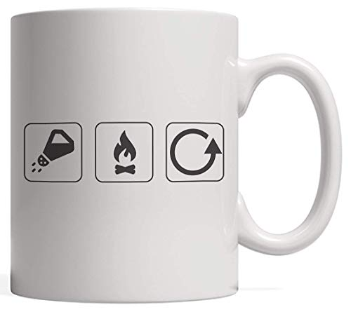 Salt Burn Repeat Icon Symbols Mug - Funny Supernatural Spirit Gift for Anyone Who Loves Science Fiction Halloween Zombies Angels Demons and Other Creatures in A Ouija Board Game (Board Spirit Halloween Game)