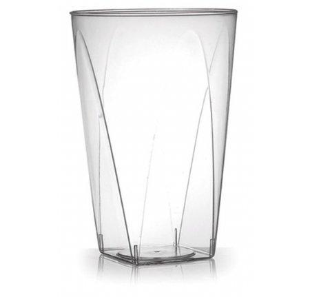 40er Set Partygläser, Hartplastikbecher, kristallklare Plastikbecher, elegant mit quadratischem Boden, wiederverwendbares Plastikgeschirr - 280 ml (10 oz)