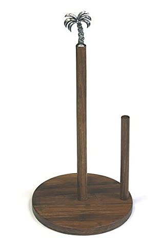 Simply Bamboo Carbonized Bamboo Paper Towel Holder w/ Metal Palm Tree Ornament by Simply Bamboo